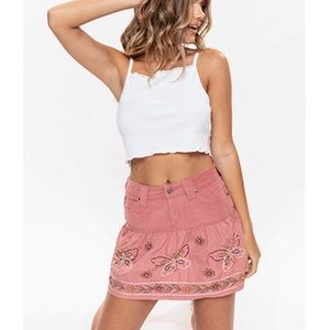 YMI Embellished Butterfly Skirt Cotton Dusty Pink